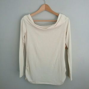 Rachel Roy//Ivory Ruched Side Long Sleeve Top